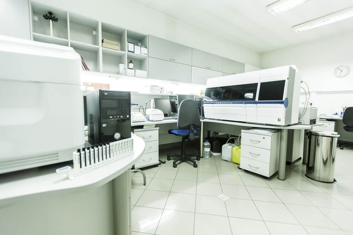 Chemical resistant and containment industrial floor coating in medical office Chemical Resistant and Containment Coatings